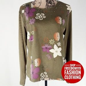Pierre Cardin | Long Sleeve Floral Top (XL)